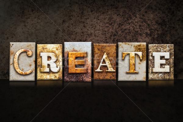 Create Letterpress Concept on Dark Background Stock photo © enterlinedesign