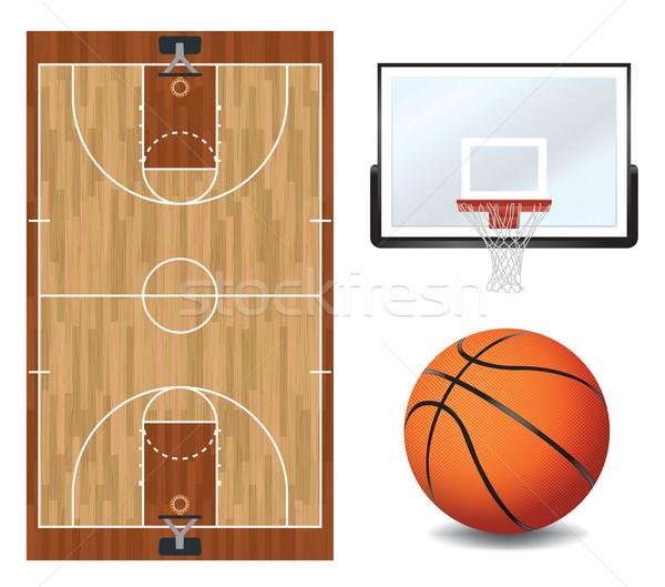 Basketbol dizayn elemanları örnek basketbol sahası vektör Stok fotoğraf © enterlinedesign