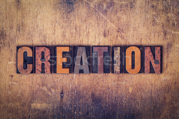 Teremtés fából készült magasnyomás szó írott Stock fotó © enterlinedesign