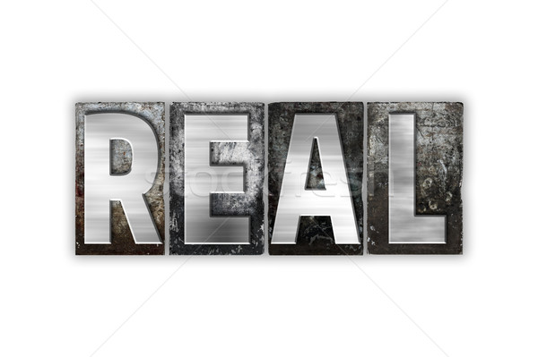 Real Concept Isolated Metal Letterpress Type Stock photo © enterlinedesign