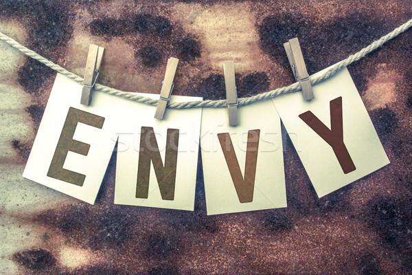 Invidiare carte parola vecchio pezzo Foto d'archivio © enterlinedesign