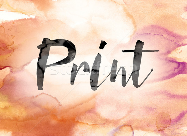 Print Colorful Watercolor and Ink Word Art Stock photo © enterlinedesign