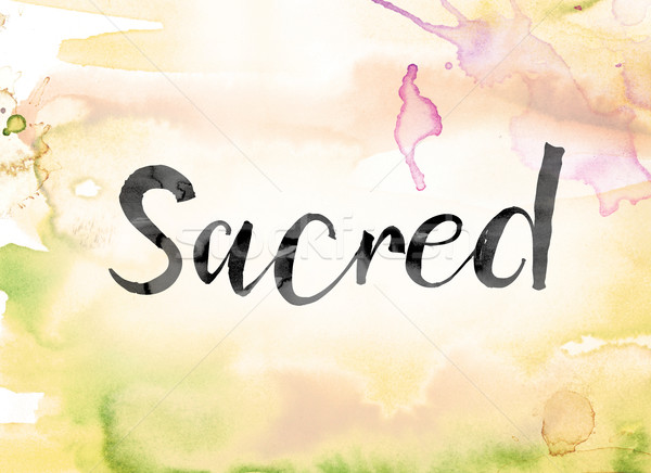 Sacred Colorful Watercolor and Ink Word Art Stock photo © enterlinedesign