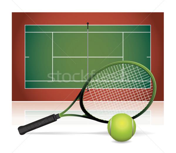 Realista quadra de tênis ilustração bola raquete de tênis Foto stock © enterlinedesign