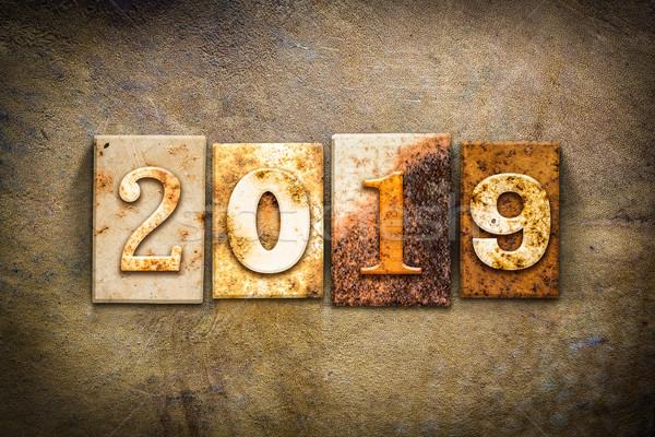 2019 Concept Letterpress Leather Theme Stock photo © enterlinedesign