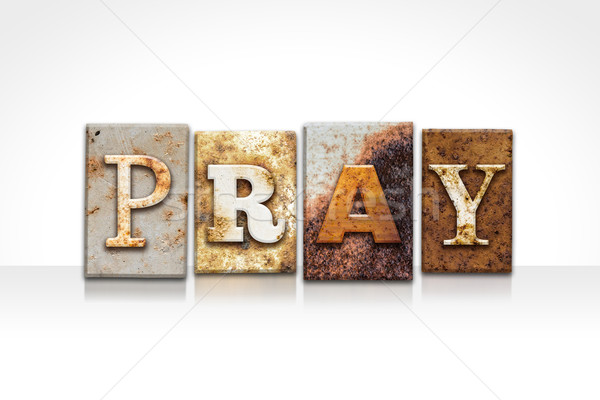 Pray Letterpress Concept Isolated on White Stock photo © enterlinedesign