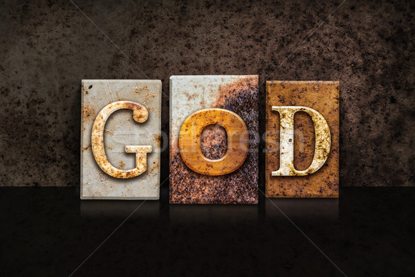 God Letterpress Concept on Dark Background Stock photo © enterlinedesign