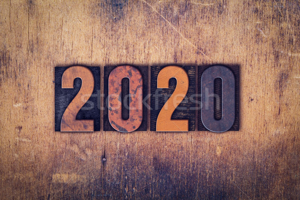 2020 Concept Wooden Letterpress Type Stock photo © enterlinedesign