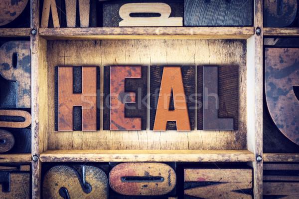 Heal Concept Letterpress Type Stock photo © enterlinedesign