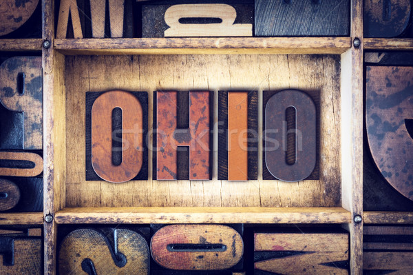 Ohio type woord geschreven vintage Stockfoto © enterlinedesign