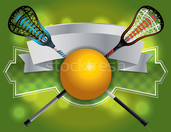 Lacrosse embleem banner illustratie spel bal Stockfoto © enterlinedesign