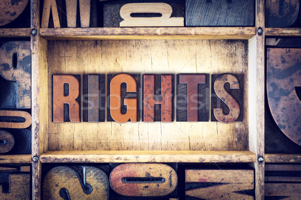 Rights Concept Letterpress Type Stock photo © enterlinedesign
