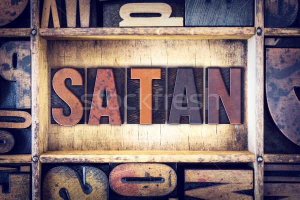 Satan type woord geschreven vintage Stockfoto © enterlinedesign