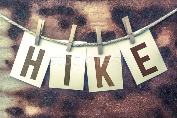 Hike Concept Pinned Stamped Cards on Twine Theme Stock photo © enterlinedesign
