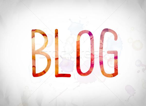 Blog aquarela palavra arte escrito branco Foto stock © enterlinedesign