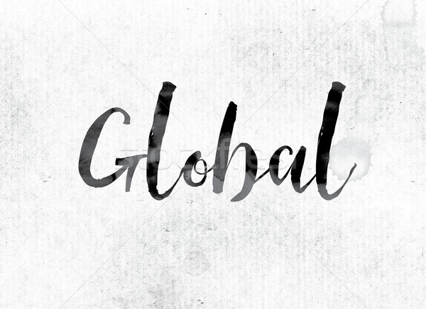 глобальный окрашенный чернила слово акварель белый Сток-фото © enterlinedesign
