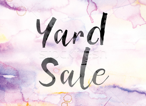 Yard Sale Colorful Watercolor and Ink Word Art Stock photo © enterlinedesign