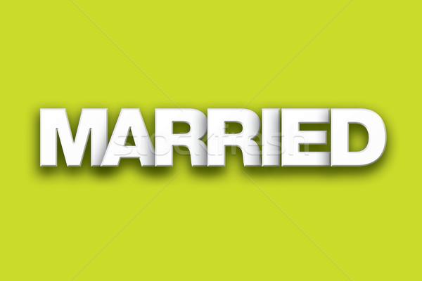 Házas szó művészet színes írott fehér Stock fotó © enterlinedesign