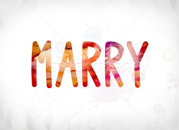 Marry Concept Painted Watercolor Word Art Stock photo © enterlinedesign