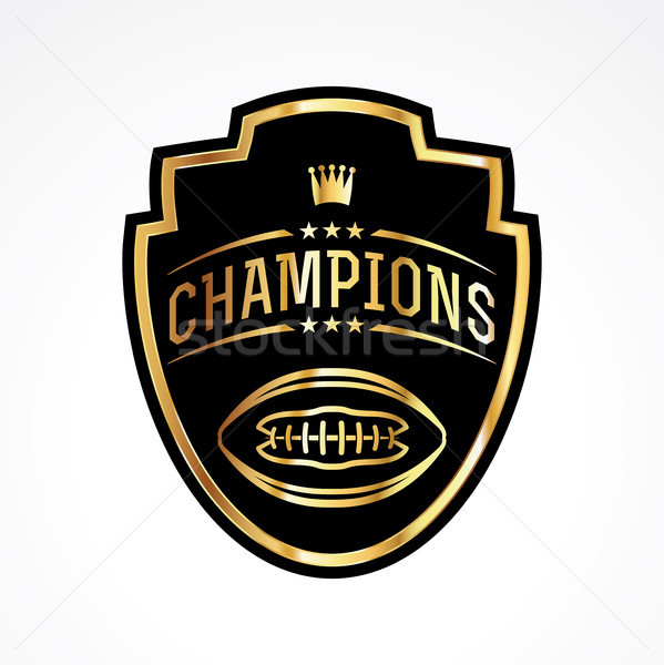American Football Champions Badge Emblem Illustration Stock photo © enterlinedesign