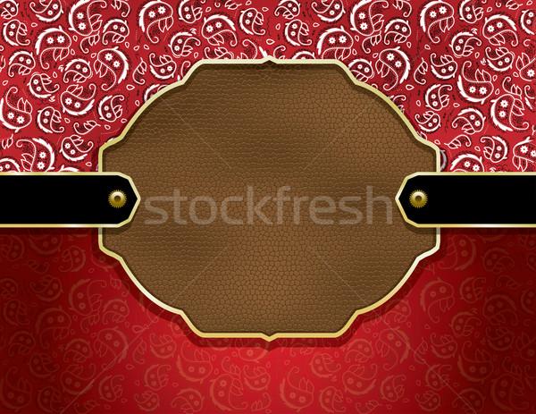 Pays cuir fond rouge mouchoir modèle Photo stock © enterlinedesign