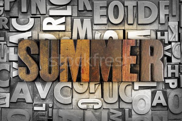Nyár szó írott klasszikus magasnyomás Stock fotó © enterlinedesign