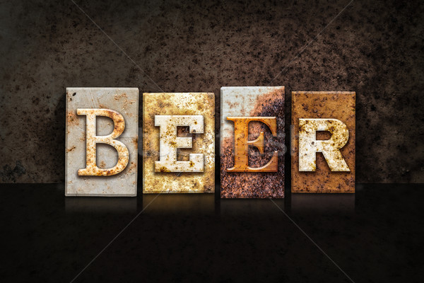 Beer Letterpress Concept on Dark Background Stock photo © enterlinedesign