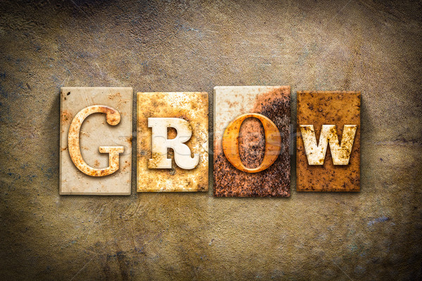 Grow Concept Letterpress Leather Theme Stock photo © enterlinedesign