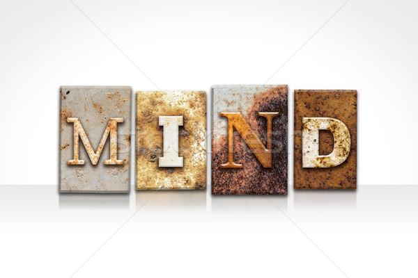 Mind Letterpress Concept Isolated on White Stock photo © enterlinedesign