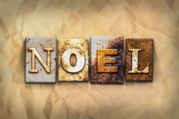 Noel Concept Rusted Metal Type Stock photo © enterlinedesign