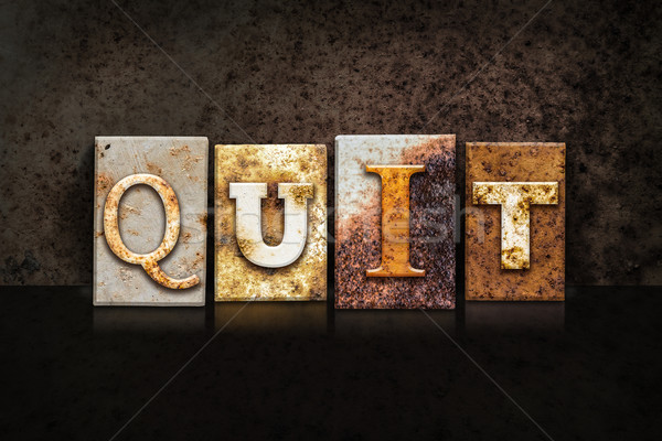 Quit Letterpress Concept on Dark Background Stock photo © enterlinedesign