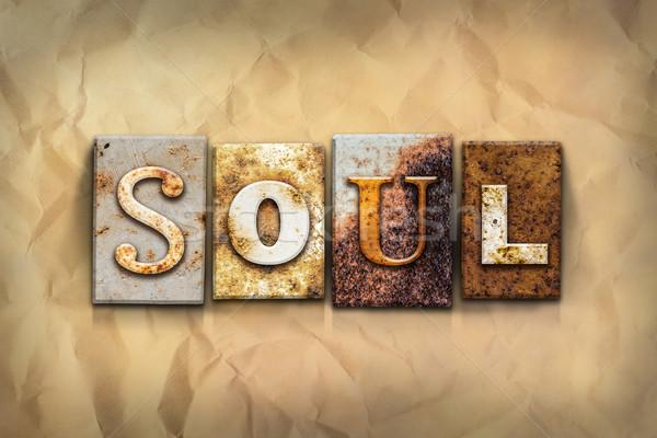 ストックフォト: 魂 · 金属 · タイプ · 言葉 · 書かれた