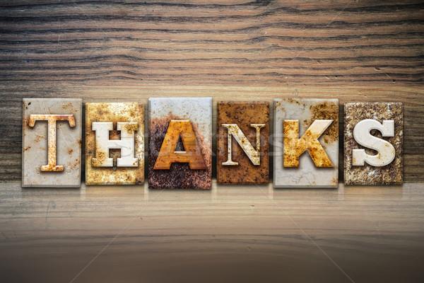 Remerciements mot écrit rouillée métal Photo stock © enterlinedesign