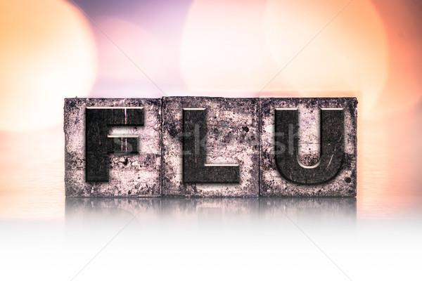 грипп Vintage тип слово написанный Сток-фото © enterlinedesign