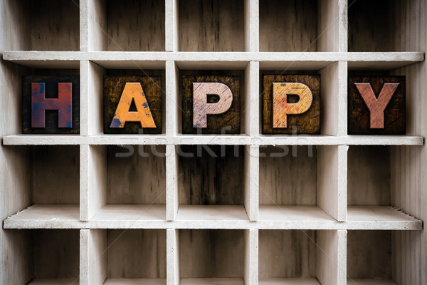 Happy Concept Wooden Letterpress Type in Draw Stock photo © enterlinedesign
