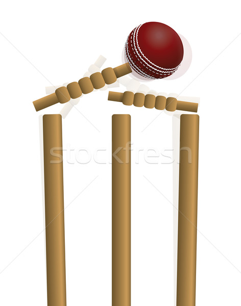 Cricket Ball Hitting the Wicket Illustration Stock photo © enterlinedesign