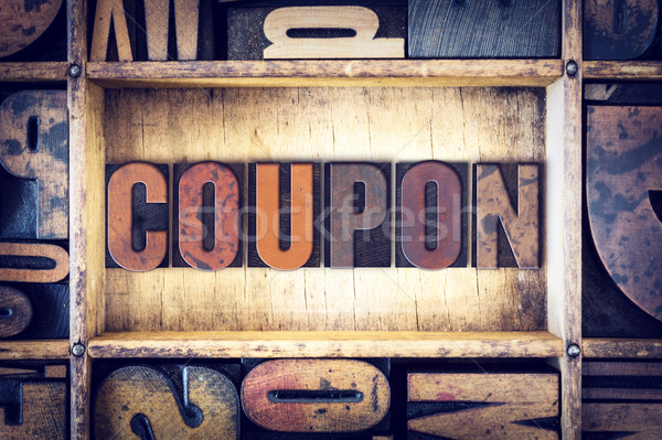 Coupon Concept Letterpress Type Stock photo © enterlinedesign