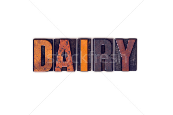 Lácteo aislado tipo palabra escrito Foto stock © enterlinedesign
