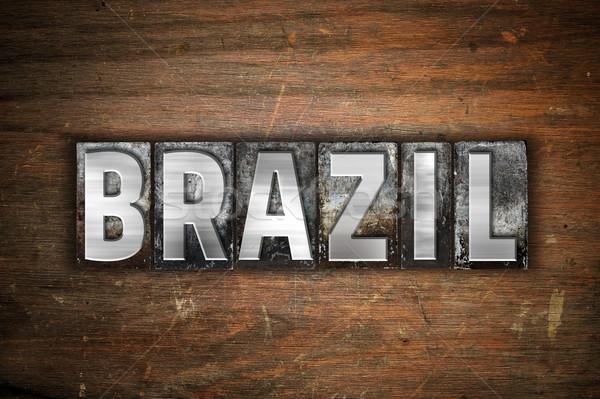 Brazília fém magasnyomás szó írott Stock fotó © enterlinedesign