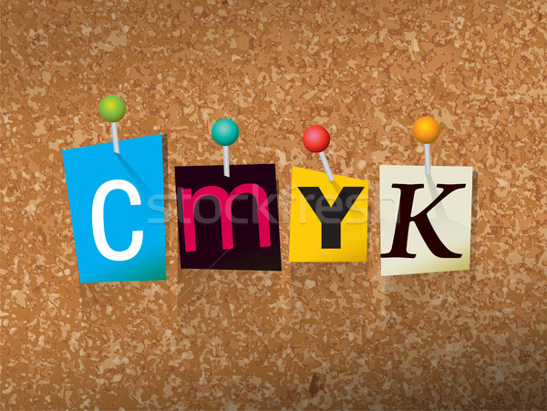 CMYK Concept Pinned Letters Illustration Stock photo © enterlinedesign