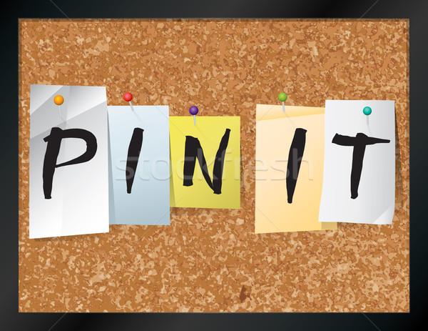 Pin boletim conselho ilustração palavras escrito Foto stock © enterlinedesign