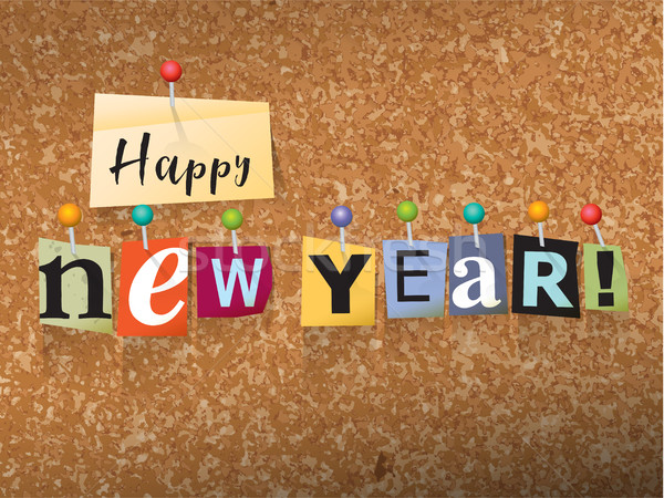 Happy New Year Pinned Paper Concept Illustration Stock photo © enterlinedesign