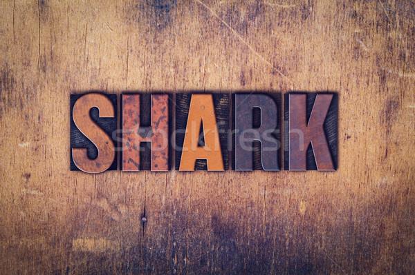 Tubarão tipo palavra escrito Foto stock © enterlinedesign