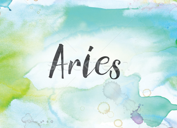 Aries Concept Watercolor and Ink Painting Stock photo © enterlinedesign