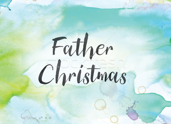 Father Christmas Concept Watercolor and Ink Painting Stock photo © enterlinedesign
