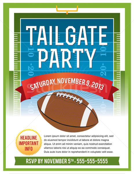American Football Tailgate Party Flyer Design Stock photo © enterlinedesign