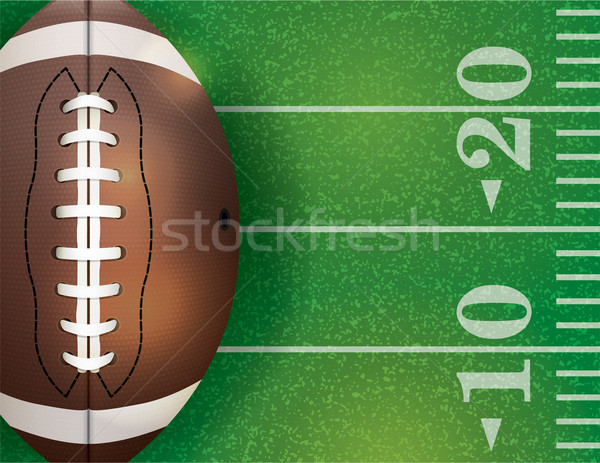 American Football Ball and Field Illustration Stock photo © enterlinedesign