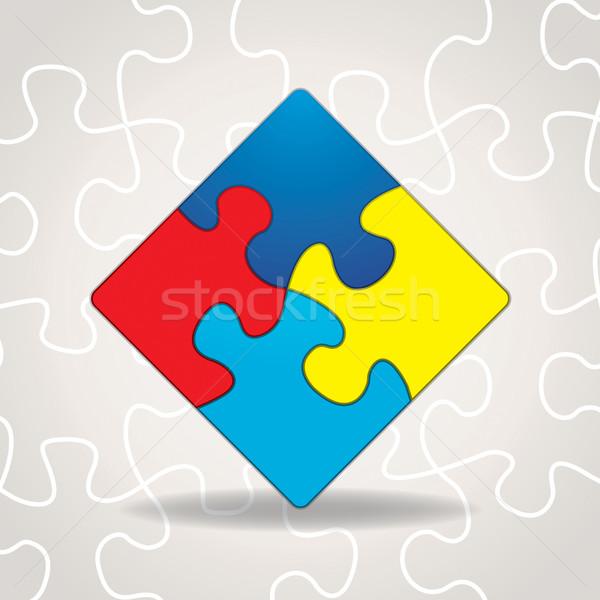 Autismus Bewusstsein Puzzleteile Illustration symbolische Farben Stock foto © enterlinedesign