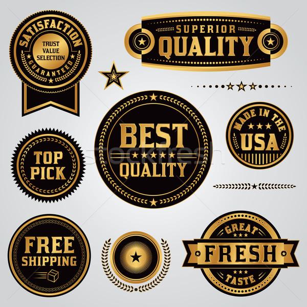 Quality Assurance Labels and Badges Set Stock photo © enterlinedesign