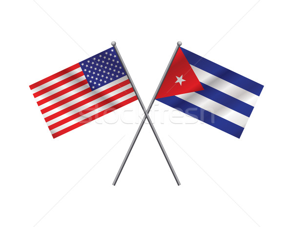 American and Cuban Flags Illustration Stock photo © enterlinedesign